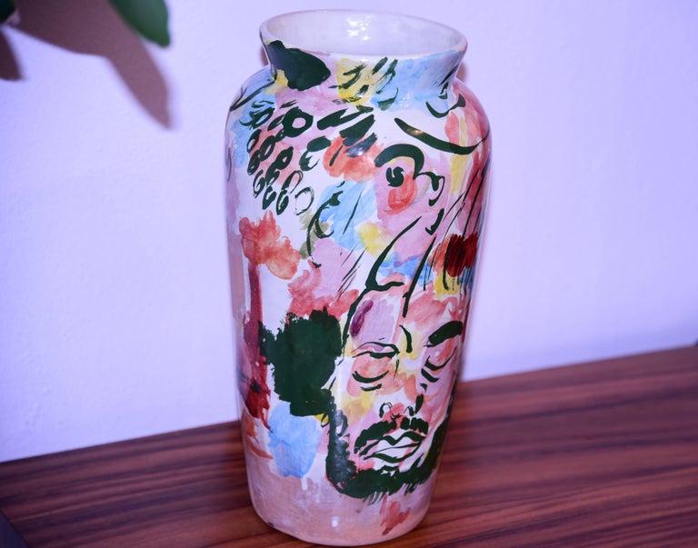 Contemporary Ceramic Colorful Vase Majolica Pottery Handmade For Sale 3