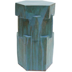 Contemporary Ceramic Drippy Teal Hexagon Side Table