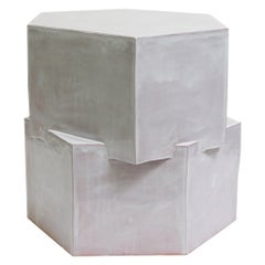 Contemporary Ceramic Glazed Terracotta Hexagon Side Table