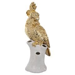 Contemporary Ceramic Gold White Cockatoo Decorative Vase, Netherlands, 2020