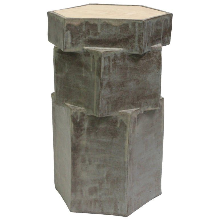 Contemporary Ceramic Gray Hexagon Side Table with Inset Oak For Sale