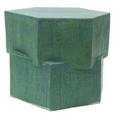 Contemporary Ceramic Green Hexagon Side Table