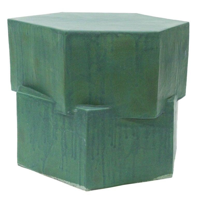 Contemporary Ceramic Green Hexagon Side Table For Sale