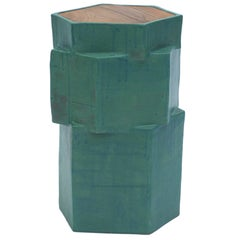 Contemporary Ceramic Green Hexagon Side Table with Inset Teak