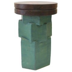 Contemporary Ceramic Green Hexagon Side Table with Walnut Top