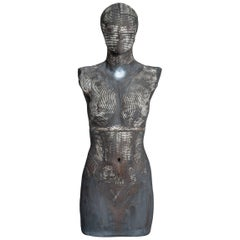 Contemporary Ceramic Grey Figural Female Sculpture or Torso by Dora Várkonyi