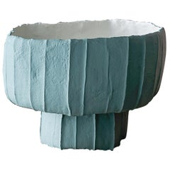 Contemporary Ceramic Low Ninfea Footed Bowl Corteccia Texture Light Blue