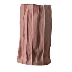 Contemporary Ceramic Ninfea Corteccia Texture Pink Tall Vase