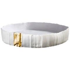 Contemporary Ceramic Ninfea Corteccia Texture White and Gold Tray