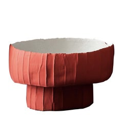 Contemporary Ceramic Ninfea Footed Bowl Corteccia Texture Red and White