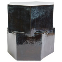 Contemporary Ceramic Pam's Blue Hexagon Side Table