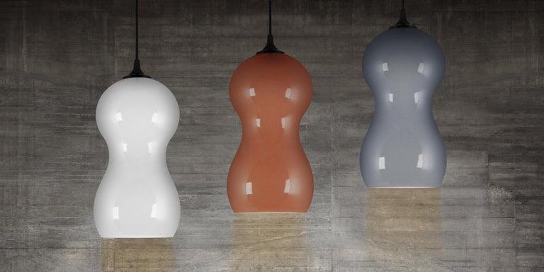 Modern Contemporary Ceramic Pendant Lamp in Chocolate Glaze For Sale