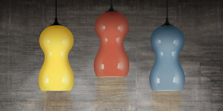 Modern Contemporary Ceramic Pendant Lamp in Sunshine Glaze - Cacahuate For Sale