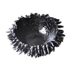 Contemporary Ceramic Sculptural Black Bowl 'Obsidian' by Lana Kova
