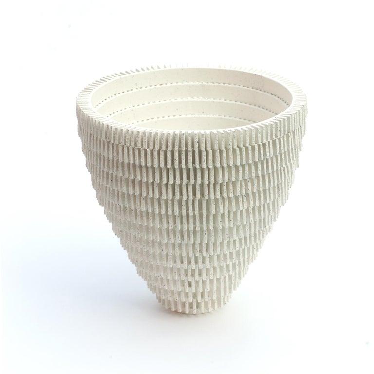 Bae Sejin Waiting for Godot 209360-210242, 2018 Ceramic; Unique; Dimensions: Terracotta: c. 9 in. height x 9 in. diameter, white: C. 9.9 in. height x 9.9 in. diameter, Mint: C. 8.6 in. height x 8.6 in. diameter.