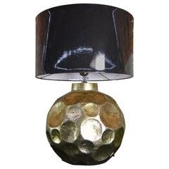 Contemporary Ceramic Table Lamp Golden Glazed with Dark Grey Shade