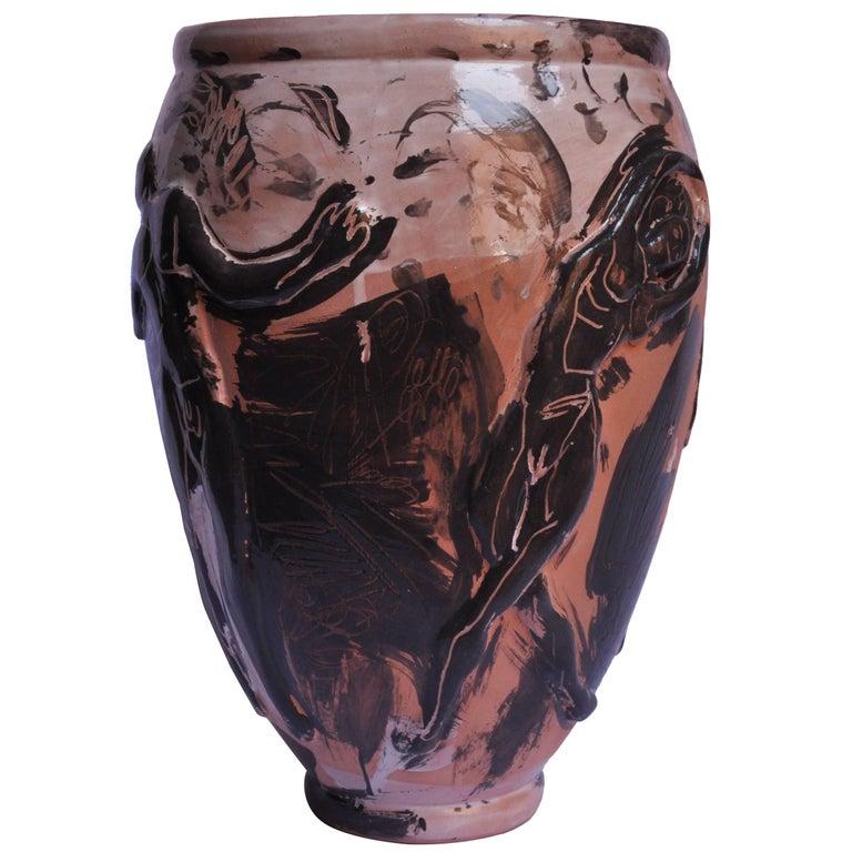 Mid-Century Modern Contemporary Ceramic Vase Majolica Pottery Handmade For Sale