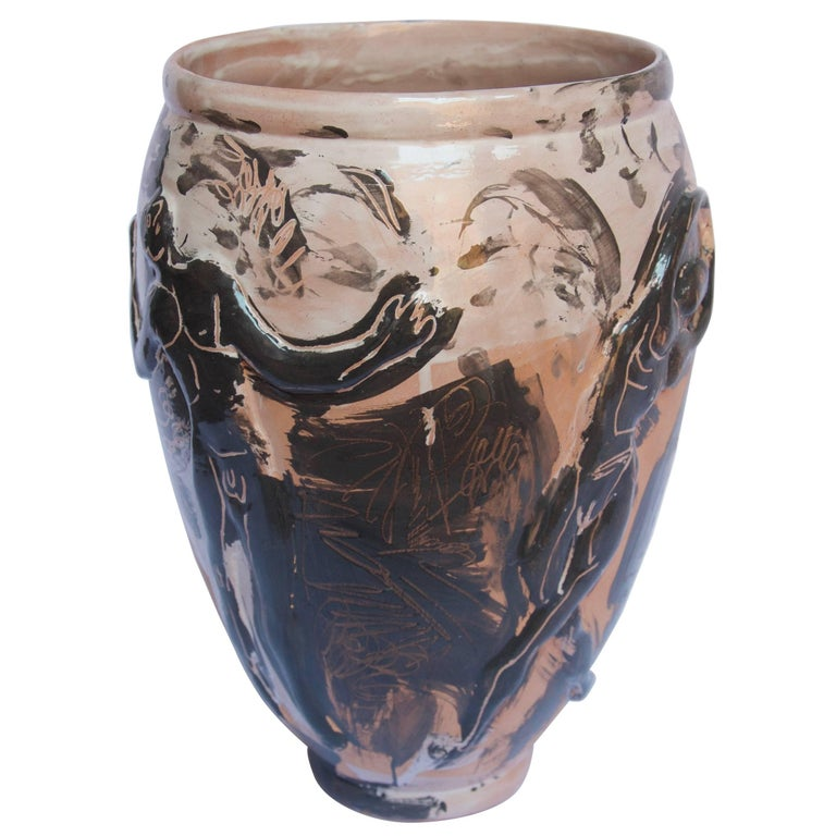 Contemporary Ceramic Vase Majolica Pottery Handmade In New Condition For Sale In Queretaro, Queretaro