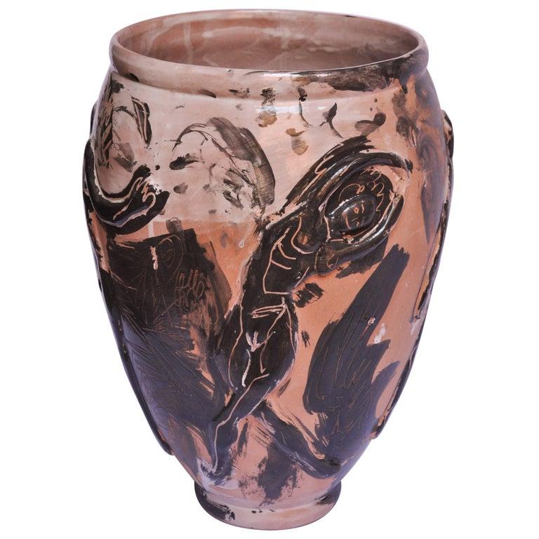 Contemporary Ceramic Vase Majolica Pottery Handmade For Sale