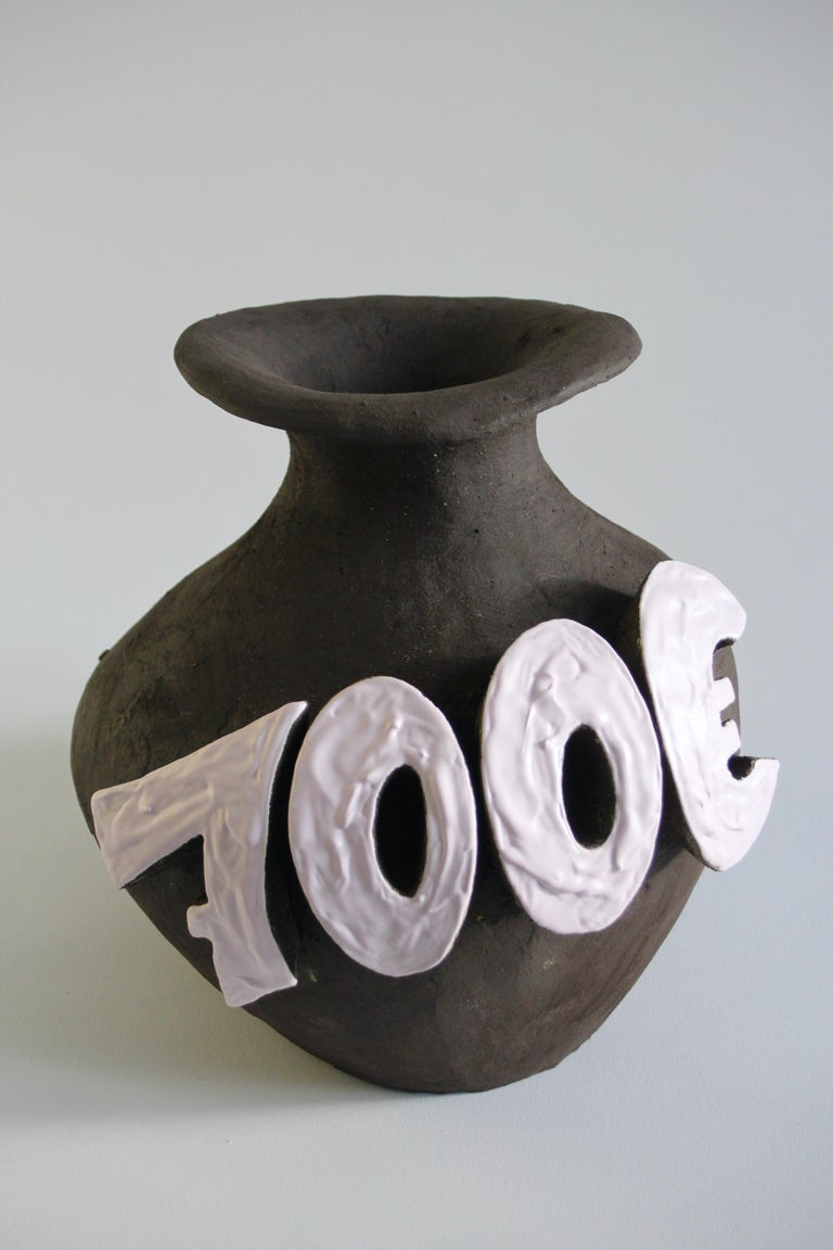 Modern Contemporary Ceramic Vase with Cartoon Font, Designer Teemu Salonen, Finland For Sale
