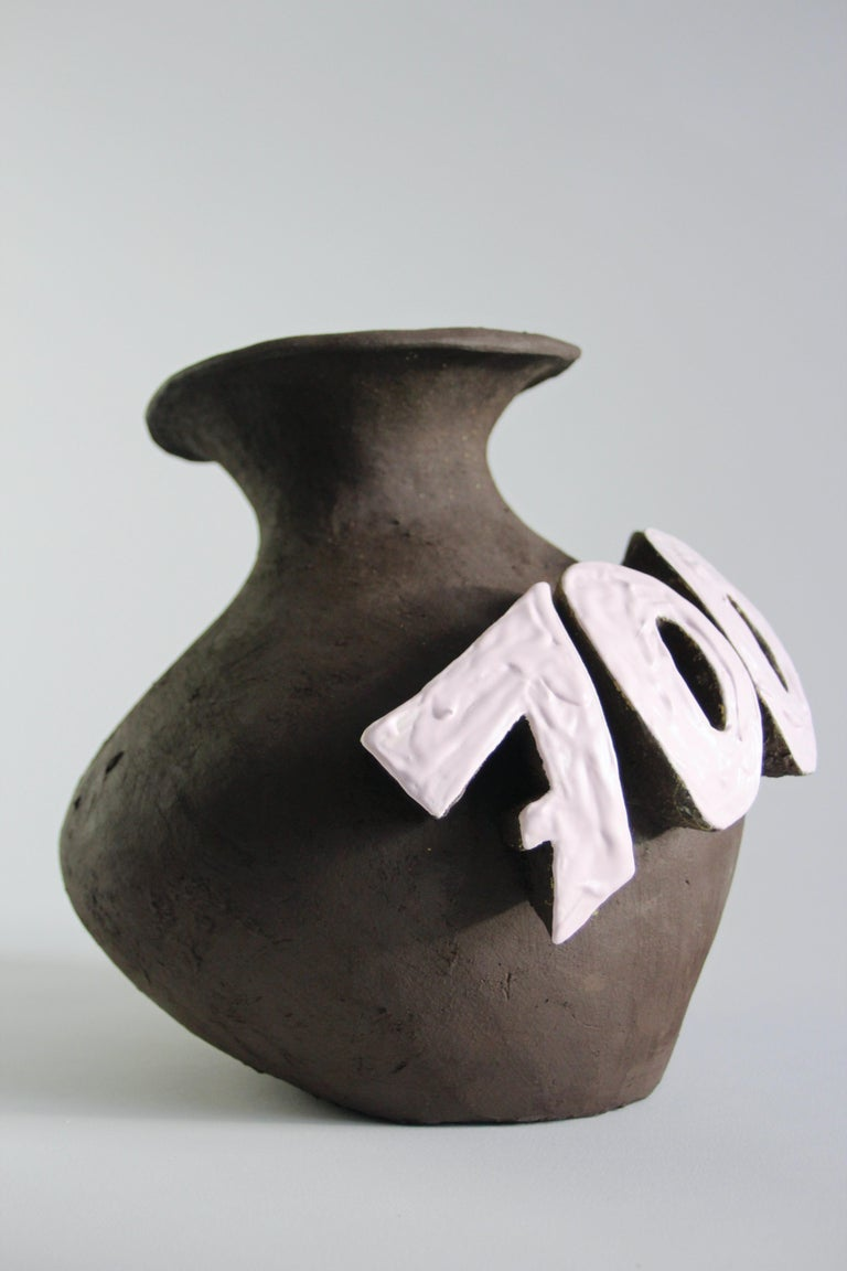 Finnish Contemporary Ceramic Vase with Cartoon Font, Designer Teemu Salonen, Finland For Sale