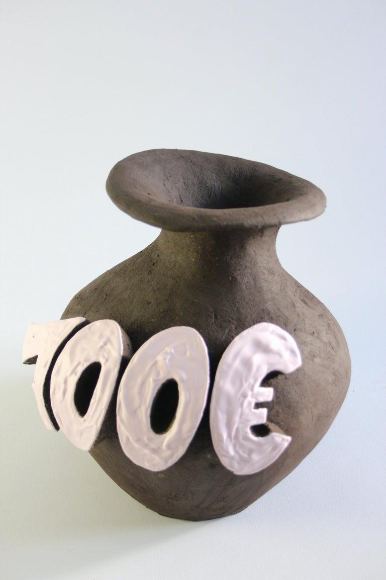 Contemporary Ceramic Vase with Cartoon Font, Designer Teemu Salonen, Finland For Sale 1