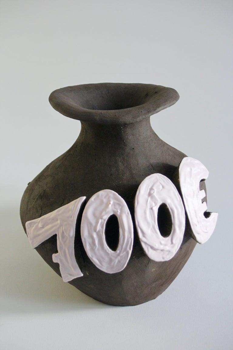 Contemporary Ceramic Vase with Cartoon Font, Designer Teemu Salonen, Finland For Sale 2