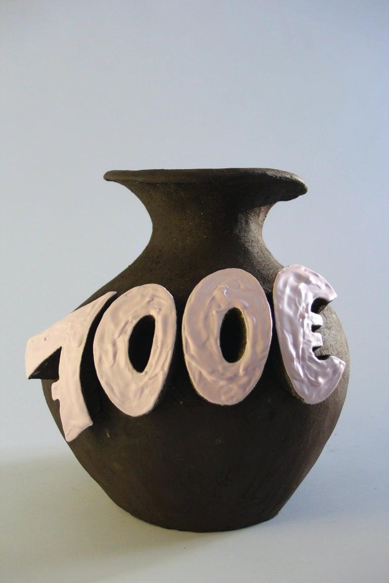 Contemporary Ceramic Vase with Cartoon Font, Designer Teemu Salonen, Finland For Sale 3