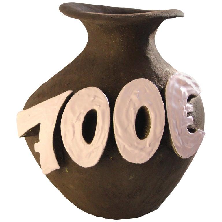 Contemporary Ceramic Vase with Cartoon Font, Designer Teemu Salonen, Finland For Sale