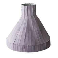 Contemporary Ceramic Vulcano Corteccia Texture Lilac Low Vase