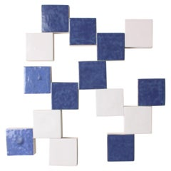 Contemporary Ceramic Wall Art, Mural Bleu