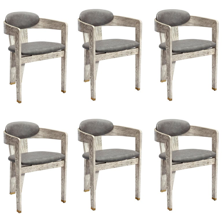 Contemporary Ceruse-Finished Oak Dining Chairs, Set Of 6 For Sale