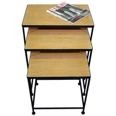 Contemporary Cerused Oak Top Nesting Tables