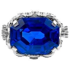 Contemporary Ceylon Sapphire Diamond Ring 14.67 Carat