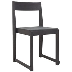 Contemporary Chair 01 Ash Black Frame/ Ash Black Leather Seat