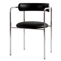 Contemporary Chair 'FF 4-Legs' Black Leather, Chrome Legs