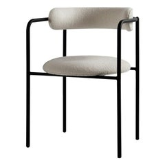 Contemporary Chair 'FF 4-Legs' Bouclé Fabric, Black Legs
