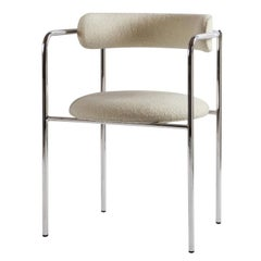 Contemporary Chair 'FF 4-Legs' Bouclé Fabric, Chrome Legs