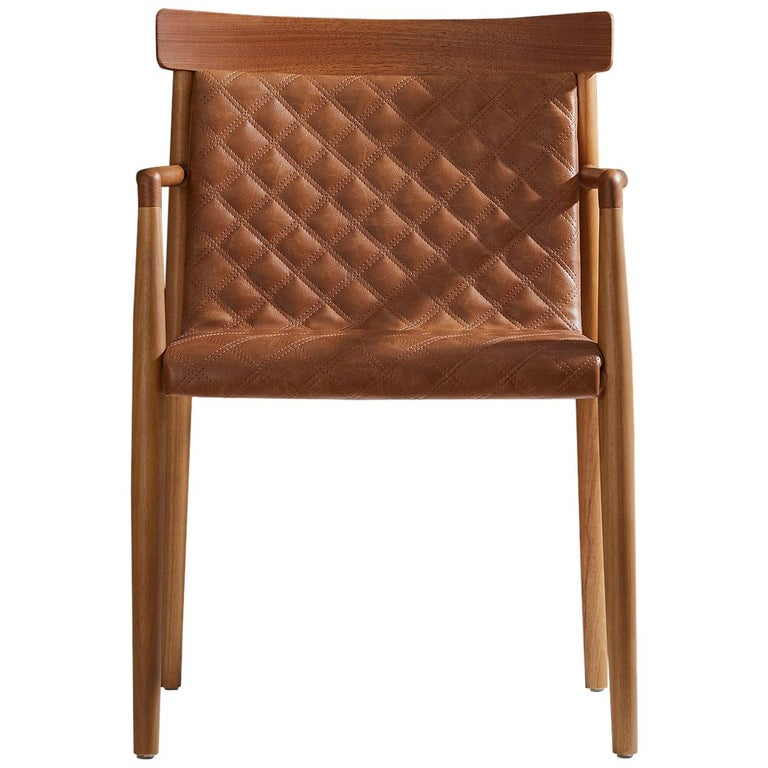 Contemporary Chair in Natural Solid Wood, Upholstered Leather, with Arms For Sale