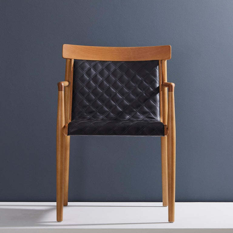 Contemporary Chair in Natural Solid Wood, Upholstered Leather, with Arms For Sale 8