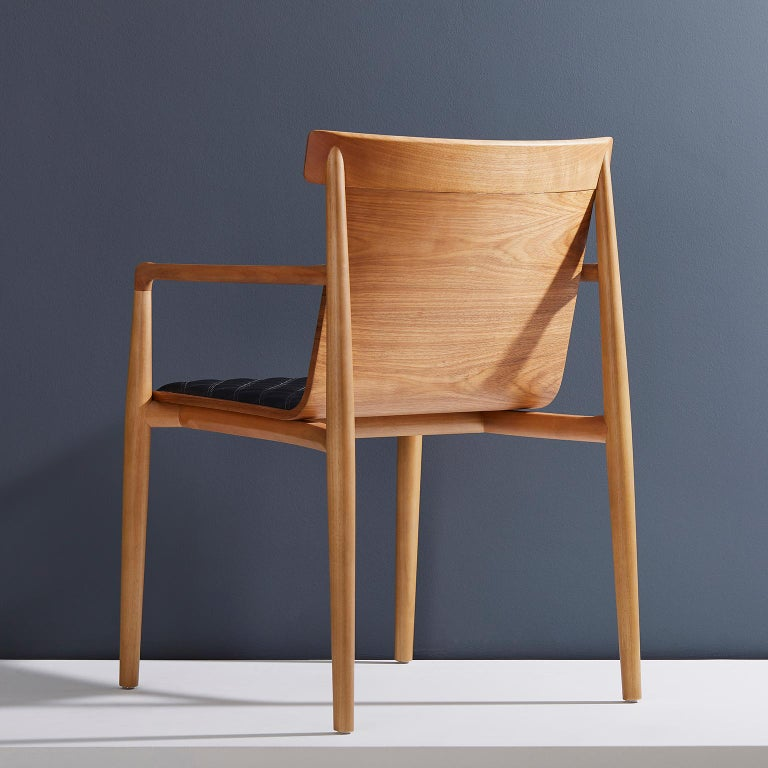 Contemporary Chair in Natural Solid Wood, Upholstered Leather, with Arms For Sale 9