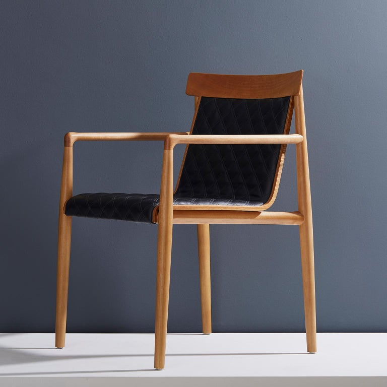 Contemporary Chair in Natural Solid Wood, Upholstered Leather, with Arms For Sale 10