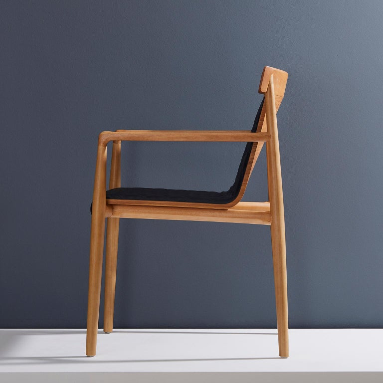 Contemporary Chair in Natural Solid Wood, Upholstered Leather, with Arms For Sale 11