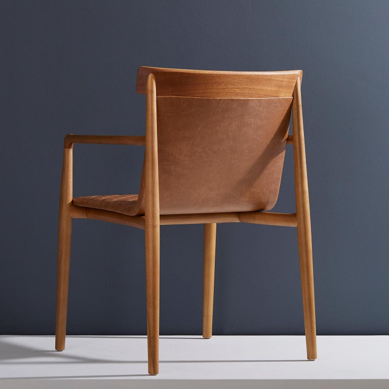 Modern Contemporary Chair in Natural Solid Wood, Upholstered Leather, with Arms For Sale