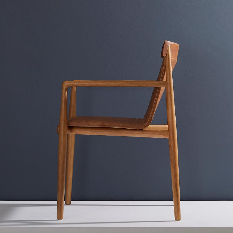 Brazilian Contemporary Chair in Natural Solid Wood, Upholstered Leather, with Arms For Sale