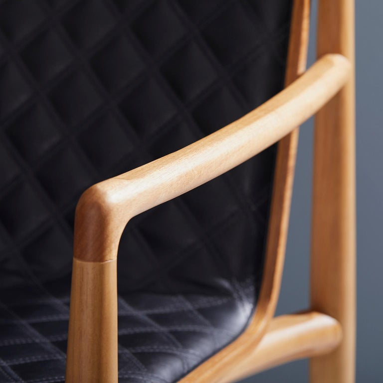Contemporary Chair in Natural Solid Wood, Upholstered Leather, with Arms For Sale 1