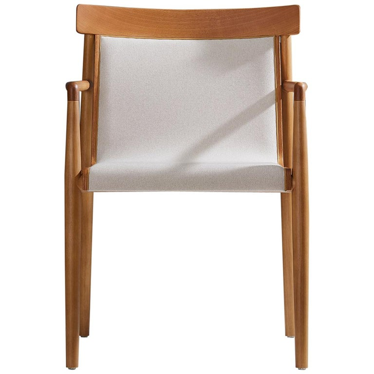 Contemporary Chair in Natural Solid Wood, Upholstered, Natural Wood Back, Arms For Sale