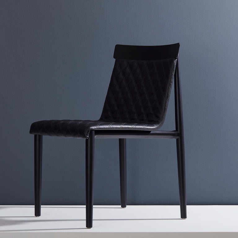 Contemporary Chair in Natural Solid Wood, Upholstered, Quilted, No Arms In New Condition For Sale In Sao Paolo, SP
