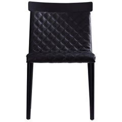 Contemporary Chair in Natural Solid Wood, Upholstered, Quilted, No Arms