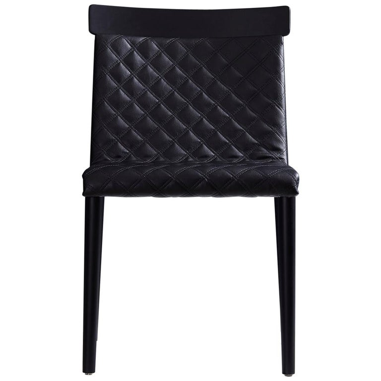 Contemporary Chair in Natural Solid Wood, Upholstered, Quilted, No Arms For Sale